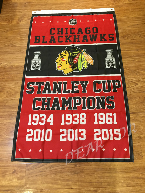 Free shipping 3X5FT <font><b>Chicago</b></font> <font><b>Blackhawks</b></font> <font><b>flag</b></font> NHL StanleyCup Champions Banner Digital Printing