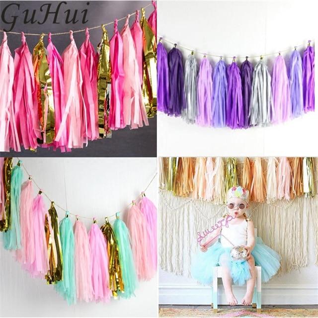 2set Lot Colorful Tissue Paper Tassels Ribbon Birthday Wedding Room