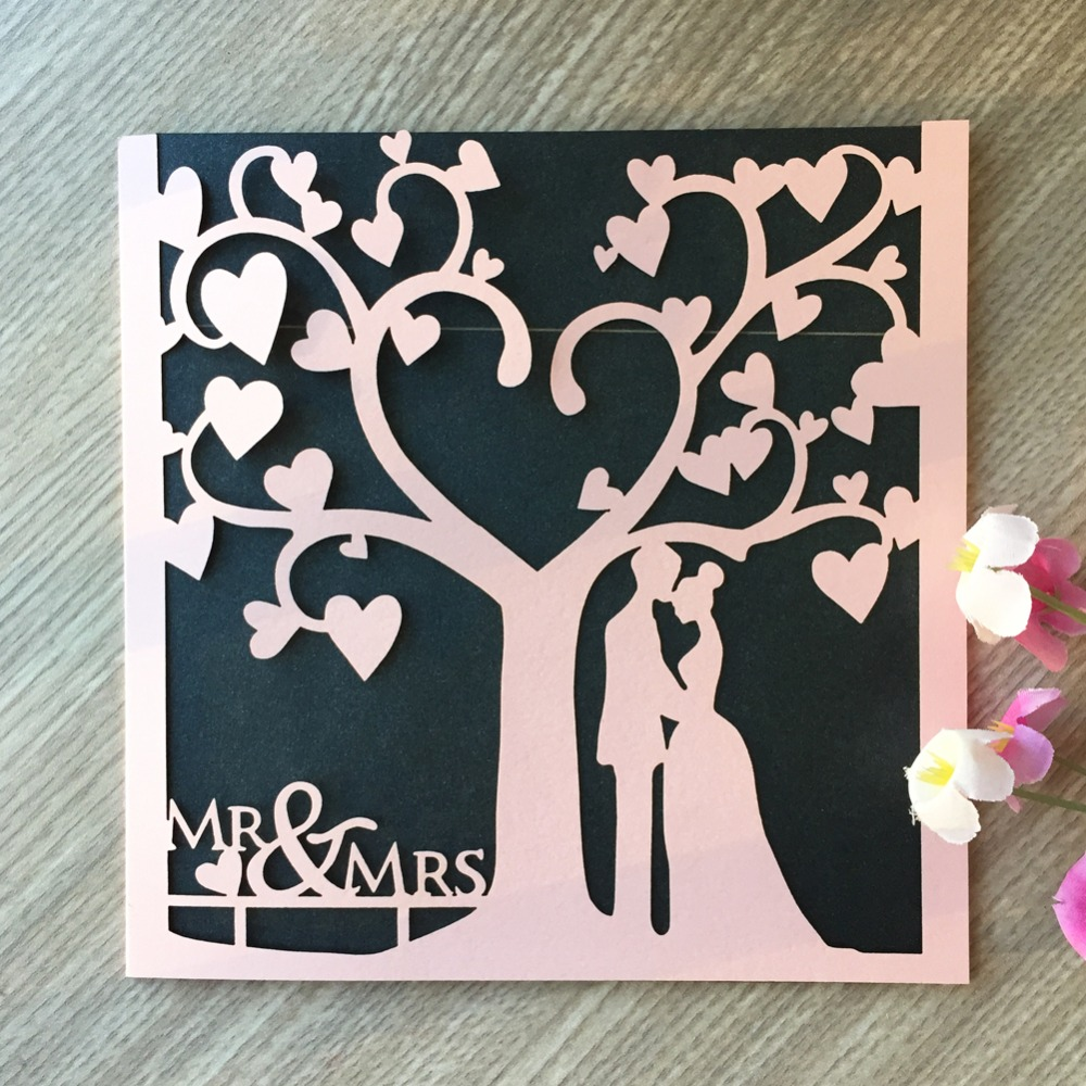 For Without Words Paper Wedding Invitations: 35pcs Laser Cut Love Tree Inviting Card Paper Party Event