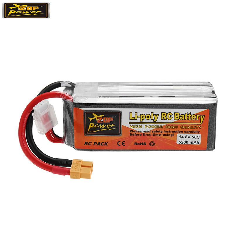 ZOP POWER <font><b>14.8V</b></font> <font><b>5200mAh</b></font> 50C 4S XT60 Plug Connector Rechargeable Lipo Battery For RC Models Multicopter Pat Accs image