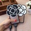 Роскошный Черный и Белый Мягкий Силиконовый Большой Цветок 3D камелии завода тяжелых Случаях Телефон Вернуться coque обложка Для iPhone 6 6 s 6 Плюс 6 splus