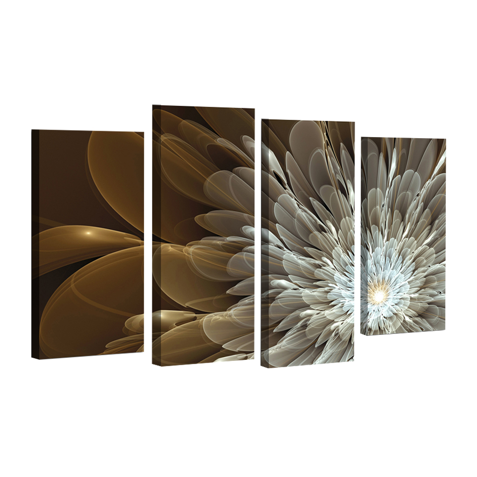 4pcs Wealth And Luxury Golden Flowers wall decor Painting Print on canvas wedding decoration Modular wall Picture Unframed