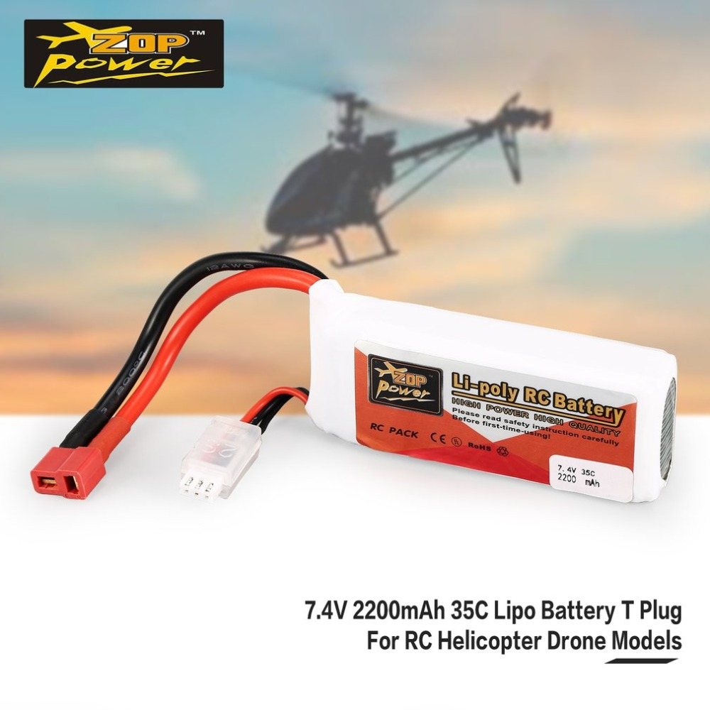 ZOP Power <font><b>7.4V</b></font> <font><b>2200mAh</b></font> 35C 2S 2S1P Lipo <font><b>Battery</b></font> T Plug Rechargeable For RC Racing Drone Helicopter Multicopter Car Model image