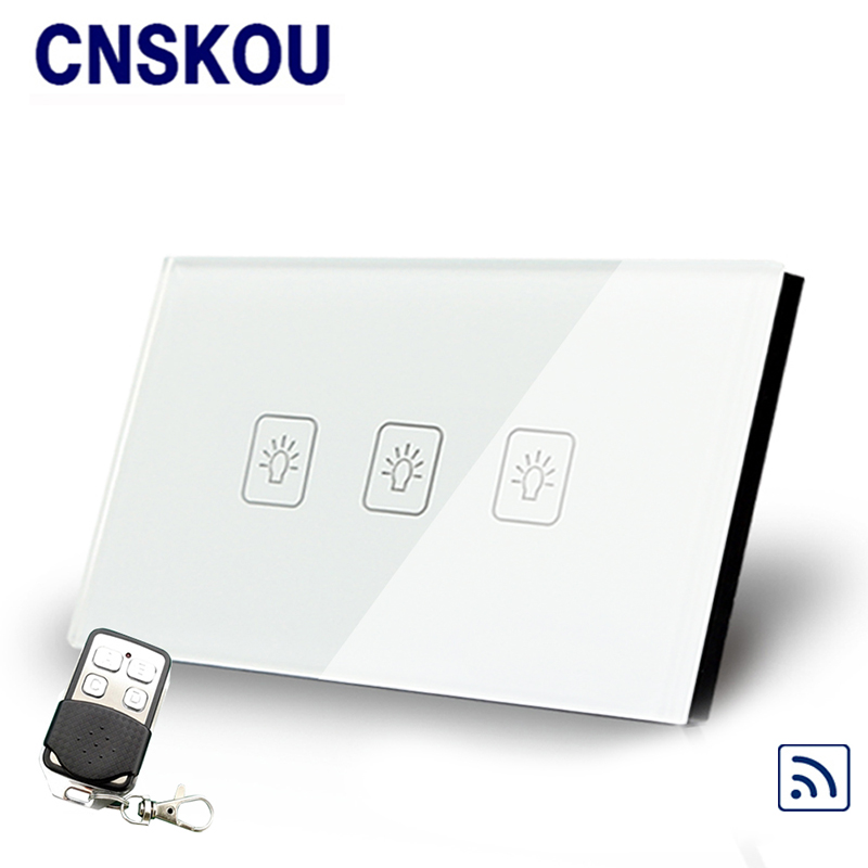 Cnskou  US standard 3gang remote control touch switch white crystal glass panel smart touch sensor switch with LED lamp free shipping smart home us au standard wall light touch switch ac220v ac110v 1gang 1way white crystal glass panel