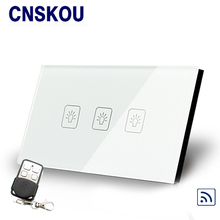 2016 Home automation remote control touch light switch wall switched EU standard 3gang white crystal glass panel smart with LED
