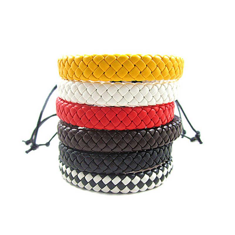 Ręcznie tkane Charm bransoletki ze skóry biżuteria tkane liny łańcuch dla mężczyzn kobieta czeski Punk przyjaźń wielu kolor moda biżuteria