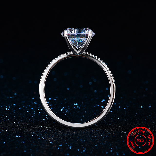 2018 Classic Luxury Real Solid 925 Sterling Silver Ring 3Ct 10 Hearts Arrows Zircon Wedding Jewelry Rings Engagement For Women 4