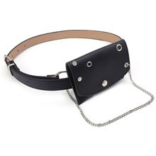 High Quality Fashion Waist Fanny Pack Belt Bag Pouch Travel Hip Bum Bags With Metal Chain Women Small Purse fashion brand lattice ladies bag high quality waist fanny pack belt bag pouch travel hip bum bag women leather small purse