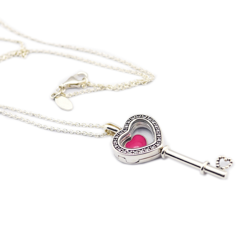 100% 925 Sterling Silver Jewelry Floating Locket Heart Key Necklace with Heart Petites Free Shipping