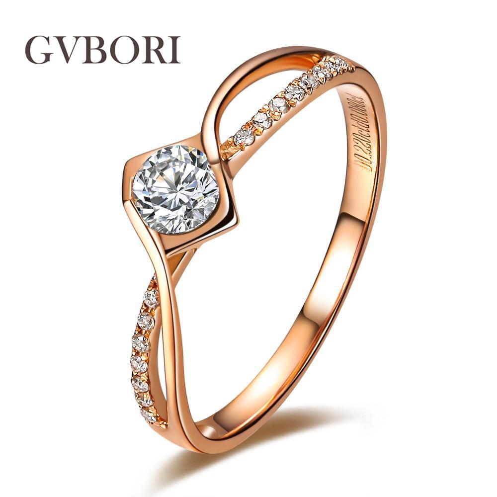 Romantic Bands: GVBORI Love 0.18Carat 18K Rose Gold Diamond Ring Romantic