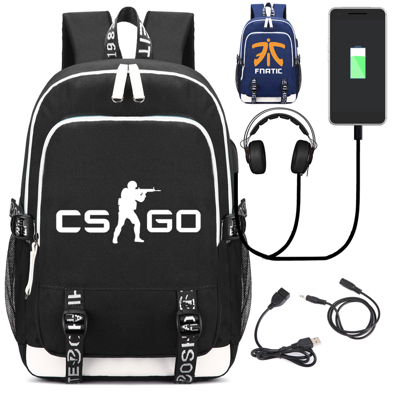 Game school bag CS CSGO Backpack with USB Charging Port and Lock &Headphone interface for College Student Work Men & Women fortnite backpack with usb charging port and lock