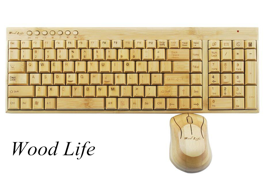 2.4 G Wireless bamboo keyboard and mouse kit green noble adsorption of formaldehyde radiation keyboard and mouse set