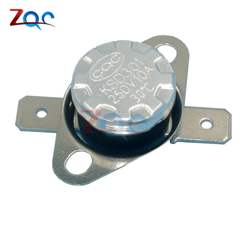 5pcs/lot KSD301 10A 250V 30 40-110 Degrees C (N.O.) Normally Open Thermostat Temperature Thermal Control Switch On off NO 2pcs ksd9700 250v 5a bimetal disc temperature switch n c thermostat thermal protector 40 135 degree centigrade