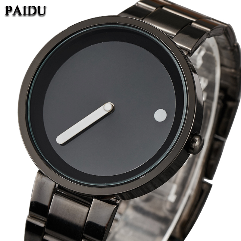 Unique Cool Minimalist Style Watch Men Clock Stainless Steel Creative Dot Line Design Simple Men Quartz Wrist Watch Relogio Gift