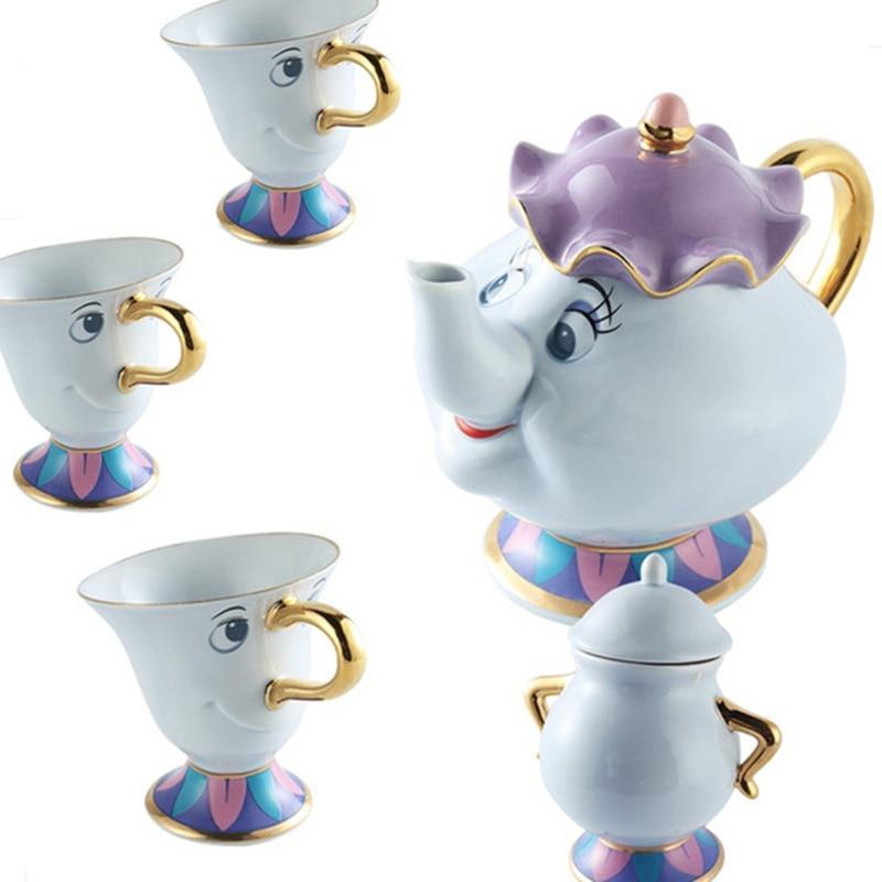 Cartoon Beauté Et La Bête Thé Ensemble Potts Puce Pot Tasse Café Tasse Mignon De Noël Cadeau D'anniversaire [1 boîtes + 3 tasses + 1 sucre bol]
