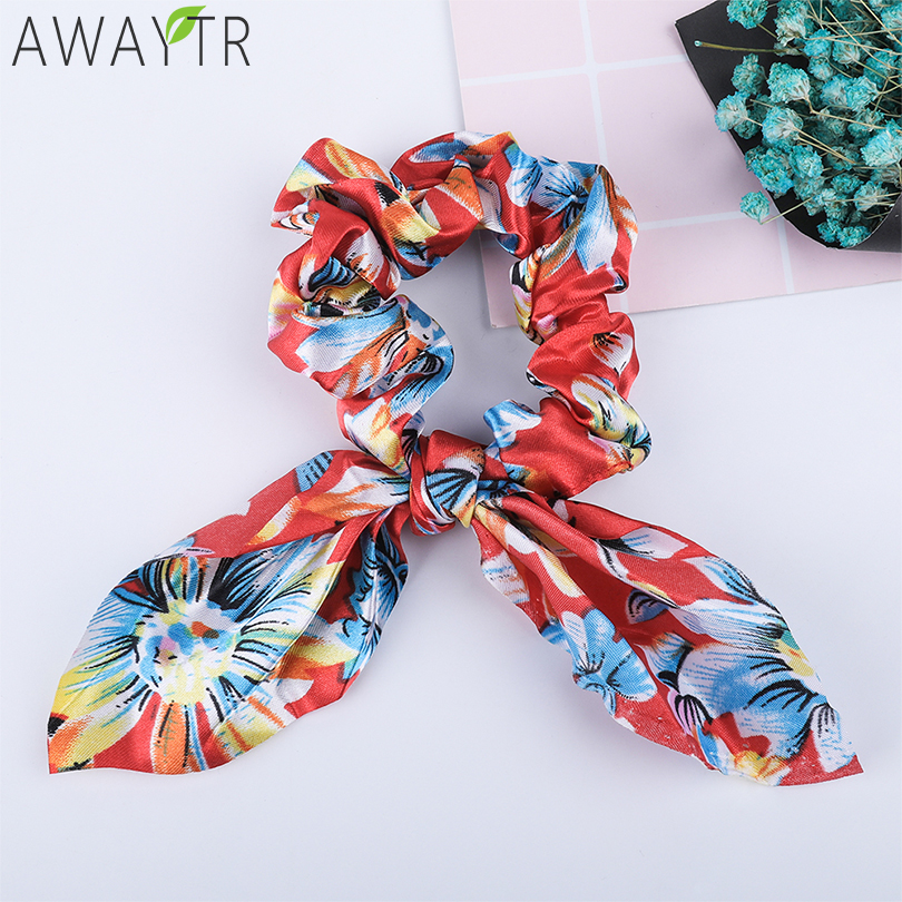 AWAYT Printed Bow Elastic Scrunchie Women Hair Bands Hair Ribbon Ponytail flowers Girl Headbands   Headwear   Fixed Hair Accessories