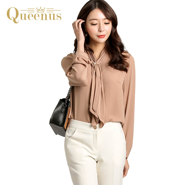 Queenus Women Top Long Sleeve Business Casual Shirts Lace Up Elegant Office Lady Tops Fashion