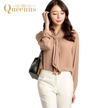Queenus Women Top Long Sleeve Business Casual Shirts Lace Up Elegant Office Lady Tops Fashion Nude Women Blouses Free Shipping