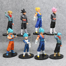 In Voorraad 17-20 cm Dragon Ball Z Super Goku Zwart Zamasu Toekomst Trunks Vegeta Vegetto PVC Action Doll model Speelgoed(China)