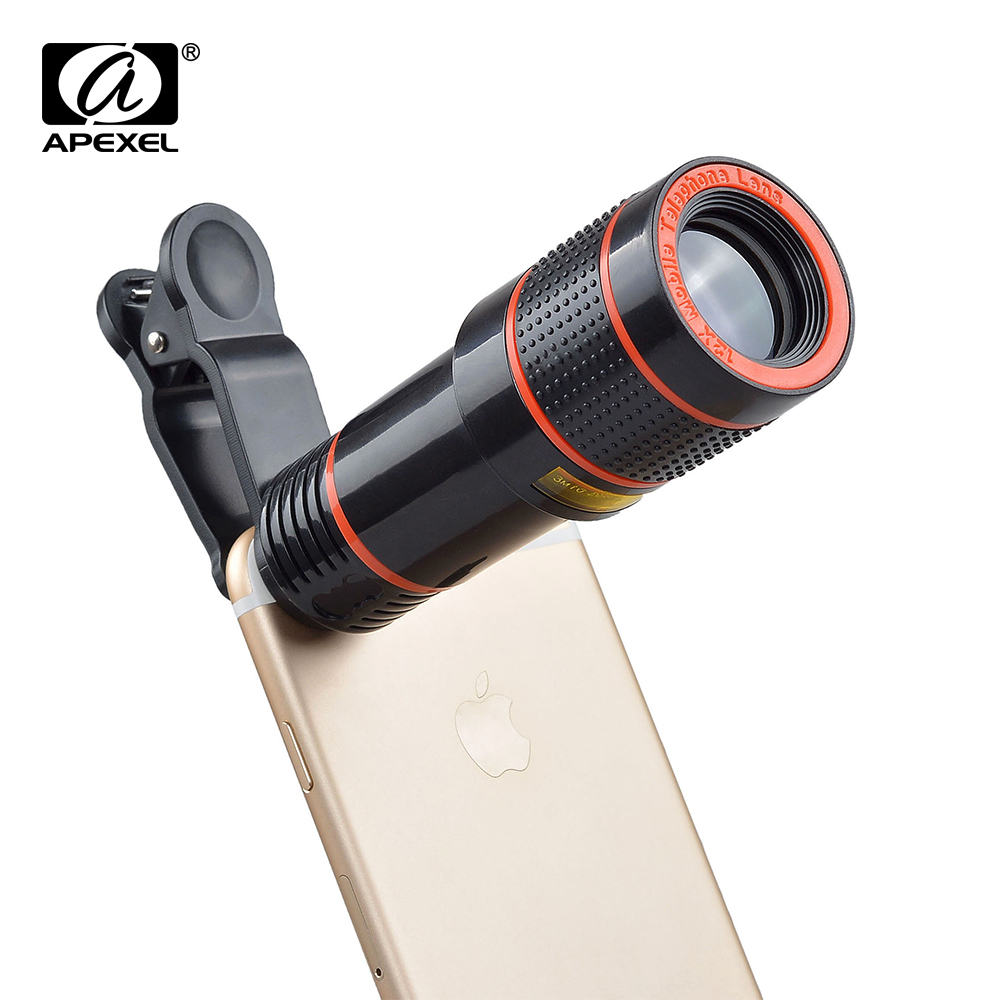Hot Sale Universal 12X Zoom Optical Clip Telephoto Telescope Camera Lens For Mobile Phone Lens Camera Zoom with tripod APL HS12X|Mobile Phone Lens|Cellphones & Telecommunications - title=