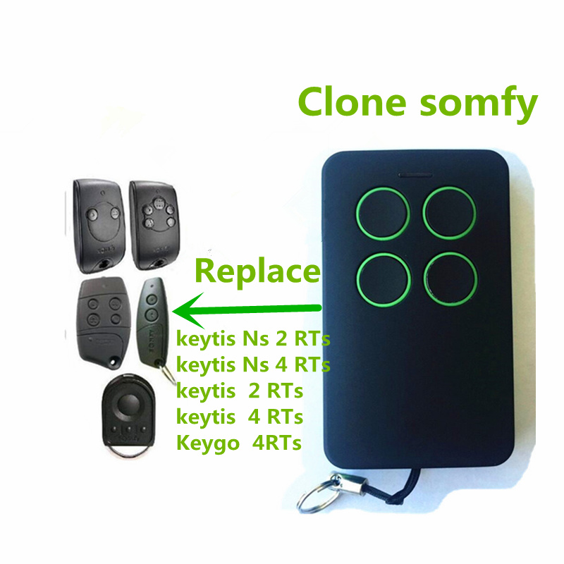 free shipping For SOMFY Keytis NS 2 RTS, Somfy Keytis 4 NS RTS compatible remote control 433,42Mhz rolling code garage door kicx rts 2 60