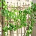 220 см Длинные Искусственные Растения Зеленые Листья Плюща Искусственные Виноградная Лоза Поддельные Листва Листьев Главная Свадебные Украшения 5x филиал