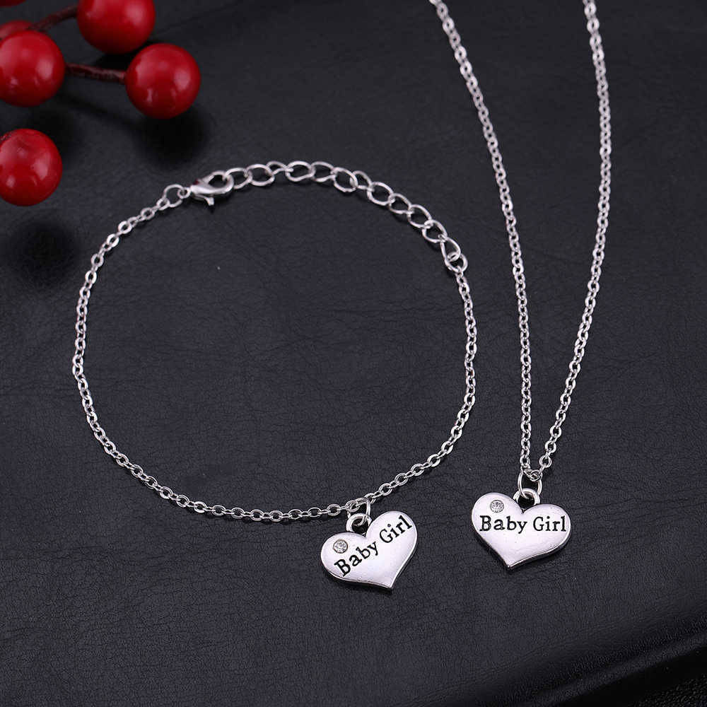 Dawapara 2019 Newest family Member Baby Girl Heart Pendant Adjustable Necklace And Bracelet For Women Jewelry set SMCAH110246
