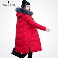 Pinky Is Black 2017 New Winter Women Jacket Large Fur Collar Hooded Woman Parkas Plus Size
