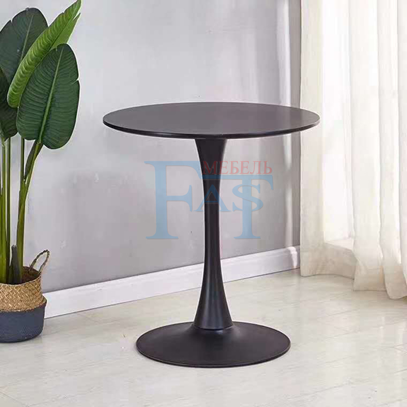 Home Dining Table Black Paint  Table  On Metal Base Kitchen Table Round Table Modern Table High Quality Free Delievry For Russia