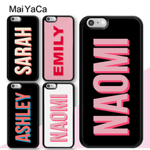 MaiYaCa Pink PERSONALISED CUSTOM Name INITIALS MONOGRAM Case For iphone 11 Pro MAX X XR XS 6 6S 7 8 Plus 5 5S TPU Cover