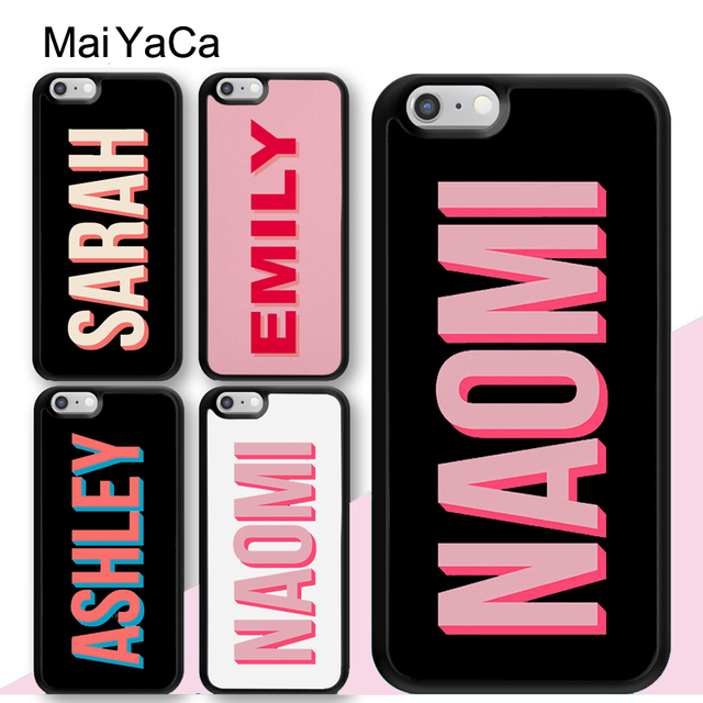 low priced b4c0e 6b897 MaiYaCa Pink PERSONALISED CUSTOM Name INITIALS MONOGRAM Soft Rubber Phone  Cases For iPhone 6S 7 8 Plus XS Max XR SE Cover Coque