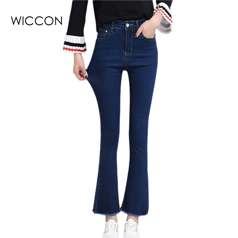 Fashion Casual Women Brand Vintage High Waist Skinny Denim Jeans Flare Pants Jeans Hole Pants Female Sexy Girls Trousers WICCON s 4xl big size high waist capris women sexy skinny jeans female denim capris girls blue jeans maxi jeans female high waist