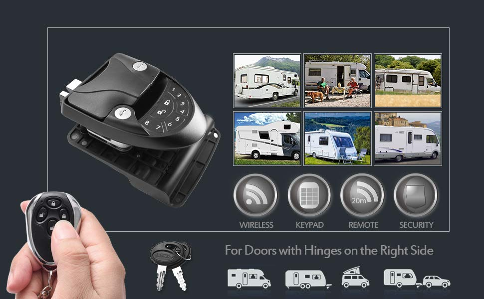 20M Remote-Control RV Keyless Entry Door Lock-1