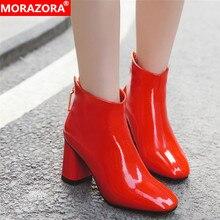 MORAZORA 2020 أحدث النساء حذاء من الجلد مربع عالية الكعب الخريف الشتاء الأحذية الكريستال مشبك موضة أحذية حفلات الزفاف امرأة