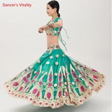 غرامة التطريز الهند الرقص الملابس أداء دعوى الكبار الرقص الشرقي المنافسة ازياء القمم + كبير سوينغ تنورة الحجاب 3 قطعة مجموعة