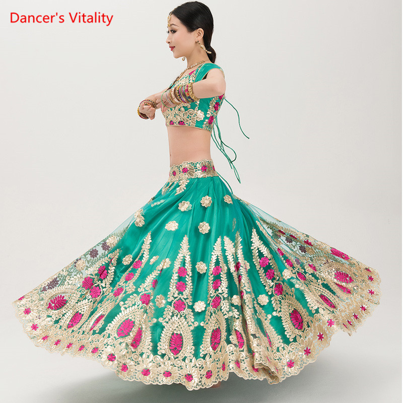 Fine Embroidery India Dance Clothes Performance Suit Adult Belly Dance Competition Costumes Tops+Big Swing Skirt+Veil 3pcs Set