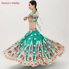 Vêtements de danse indienne en broderie Fine, costume de Performance, costume de danse du ventre pour adultes, hauts, grande jupe et voile, ensemble de 3 pièces