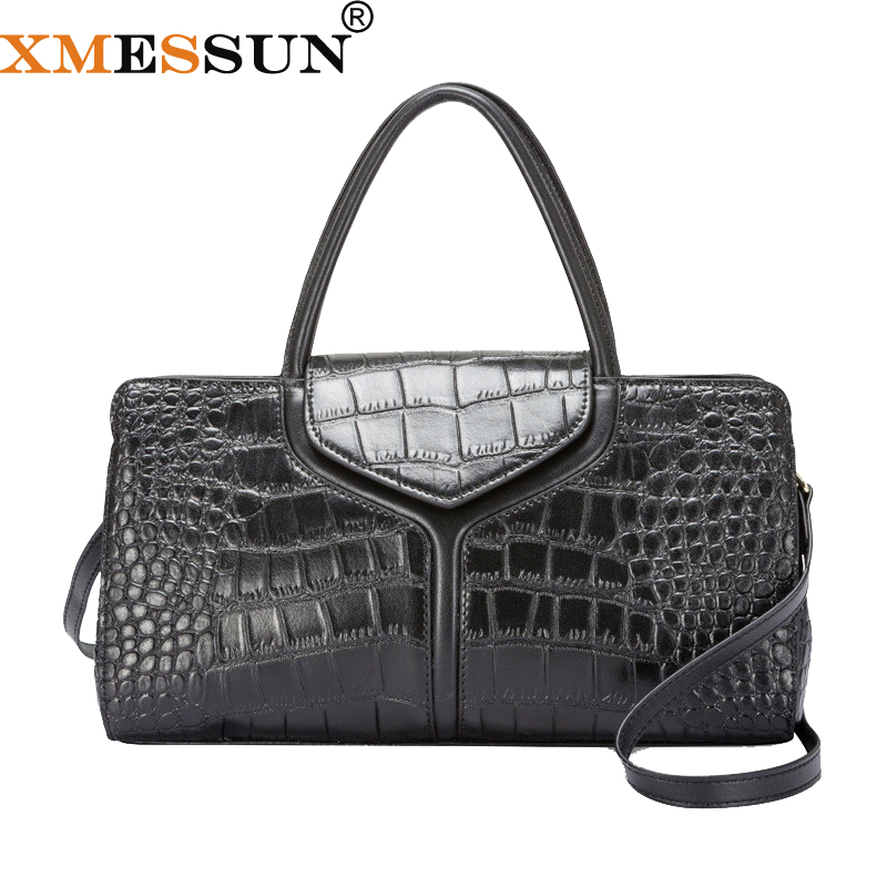 XMESSUN Genuine Leather Handbag Ladies Crocodile Pattern Bag 2019 New Fashion Snake Shoulder Messenger Bag Designer