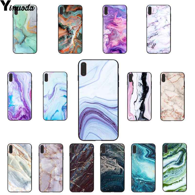 Yinuoda Art Marble Paint Black TPU Soft Rubber Phone Cover for Apple iPhone 8 7 6 6S Plus X XS MAX 5 5S SE XR Mobile Cover