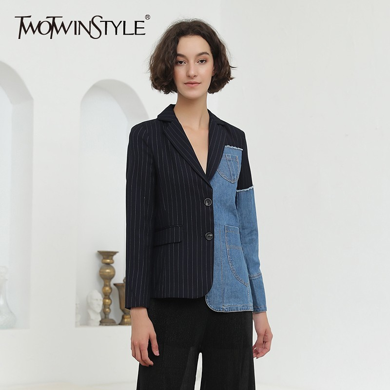 TWOTWINSTYLE Patchwork Denim Blazer Women Striped Long Sleeve Irregular Pocket Female Coat Plus Size Autumn Clothing Casual