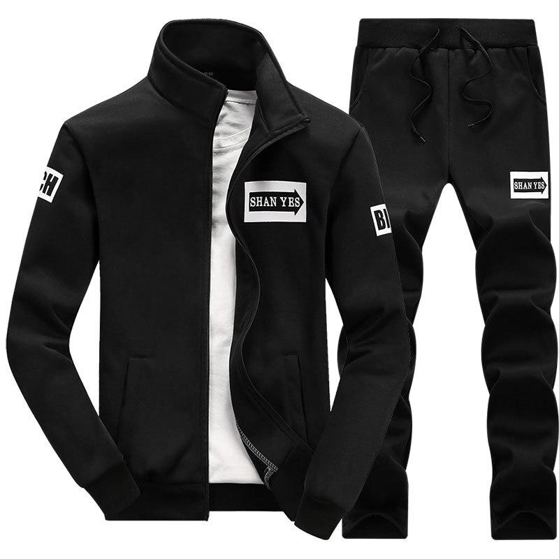 Hommes ensembles nouvelle mode automne printemps sport costume Zipper sweat + pantalons de survêtement hommes vêtements 2 pièces ensembles Slim survêtement