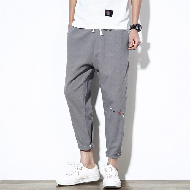 Casual solta calças dos homens corredores sweatpants calças de algodão calças de comprimento no tornozelo calças outwear hip hop meados calças de cintura elástica