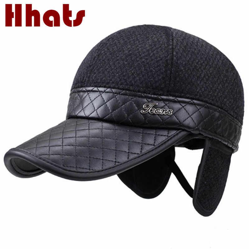 8ca13b50008dc Patchwork Winter Baseball Cap For Men Thickened Warm Ear Flap Snapback Hat  Hip Hop Adjustable Earflap