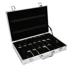 24 grille aluminium valise boîtier affichage boîte de rangement montre boîte de rangement boîtier montre support horloge montre horloge boîte