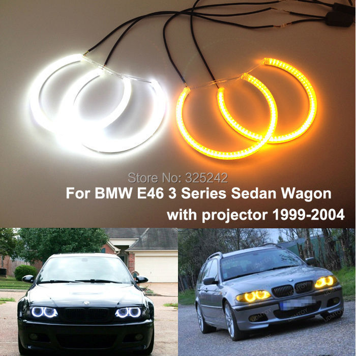 For BMW E46 3 Series xenon headlight 1999-2004 Excellent Ultra bright Dual Color Switchback smd LED Angel Eyes Halo Rings kit super bright led angel eyes for bmw x5 2000 to 2006 color shift headlight halo angel demon eyes rings kit