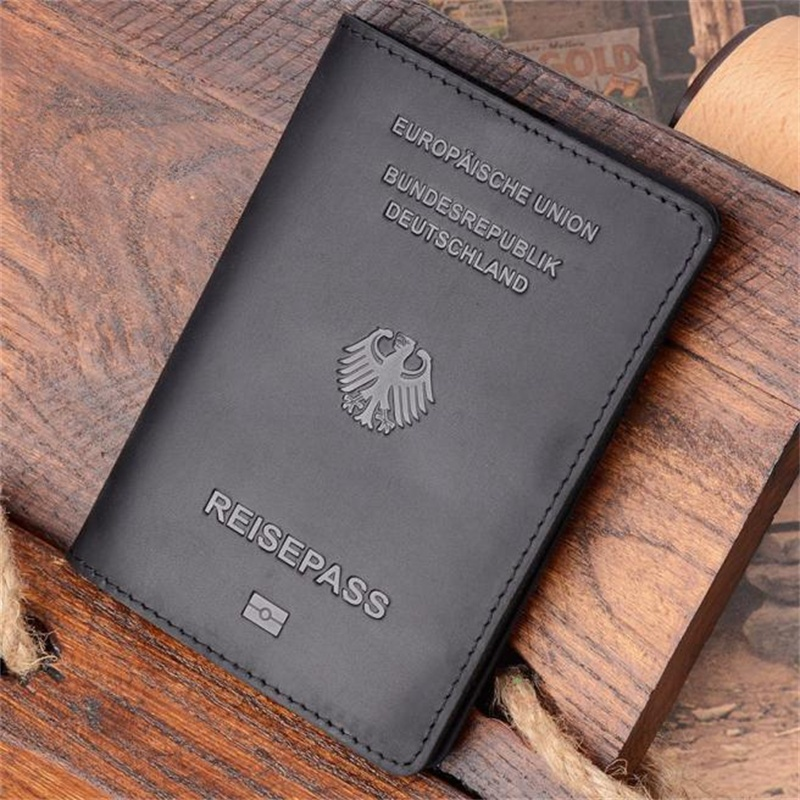 Deutschland Genuine Leather Germany Passport Cover Credit Card ID Holder Men Passport Case Travel Unisex Travel Wallet Case
