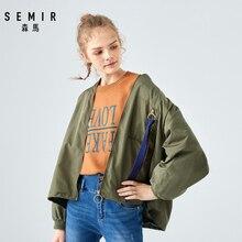 SEMIR Jacket women letter printing 2019 popular ribbon BF wind bomber jacket Korean trend girl early autumn coat for woman недорого