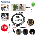 Endoscopio 5.5mm Micro USB Android Endoscope Camera 3.5M 6LED Pipe Inspection OTG USB Android Phone Borescope Mini Camera