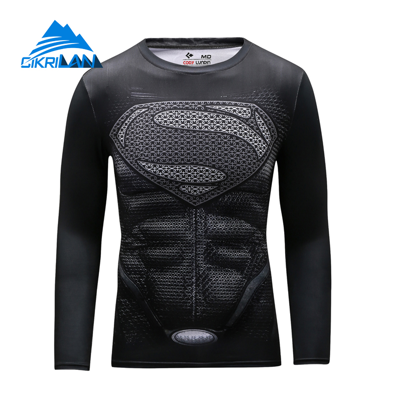 Men Super Heros Quick Dry Outdoor Sport Trekking Senderismo Cycling Tshirt Long Sleeve Hiking Fitness Bicycle Sportswear T-shirt