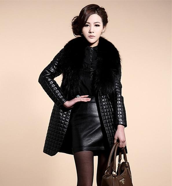 Plus Size Women Faux Leather Long Slim Jacket Winter Coat Fur Collar Female PU Outerwear 2015 Fashion Black ZP546